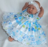 Turquoise Lime Dress + Head band  Will Fit 0-3 Months Baby
